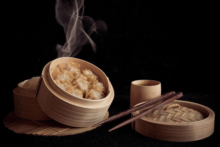 shumai Chinese food. Delicious Hot Shumai Chinese Food Black Background No People Studio Shot Indoors  Day