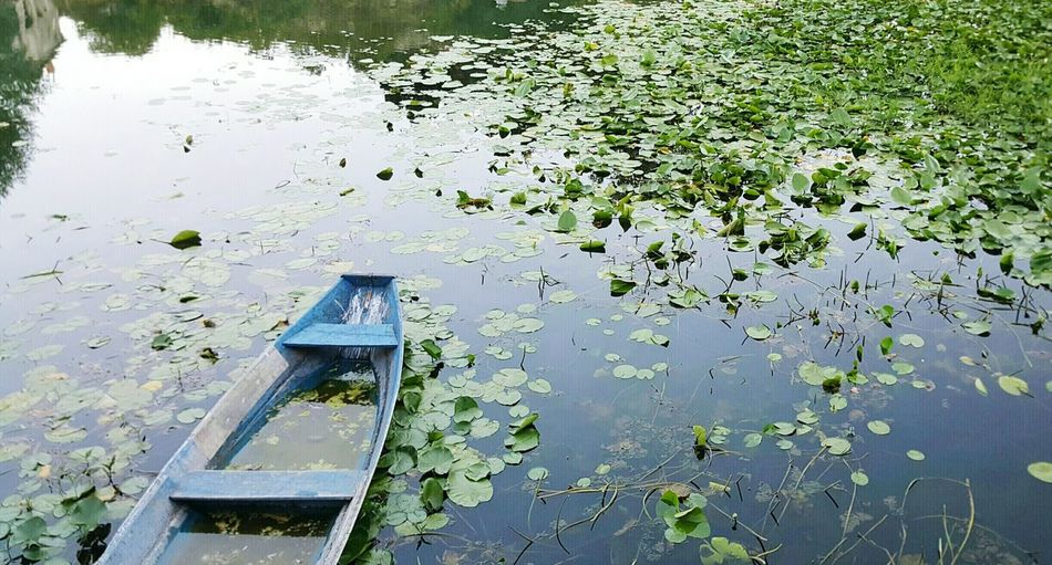Eyem Nature Lover Lake And Boat Old Boat Non-urban Scene No People Nature Day ReflectionTranquil Scene Water Green Color Nofilter