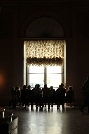 Inside Out Looking Out Of The Window Russia Adult Arch Architecture Crowd Day Erimitage Full Length Group Group Of People Indoors  Large Group Of People Leisure Activity Lifestyles Light And Shadow Men Real People Silhouette Travel Waiting Window Women