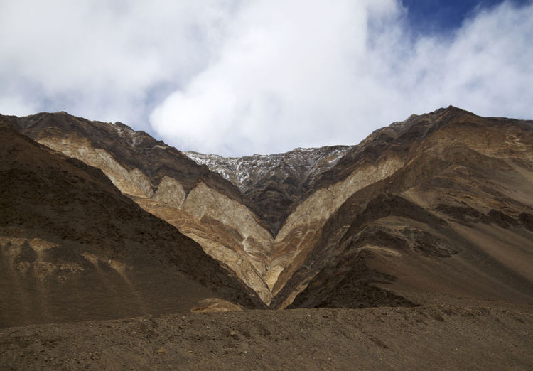 Mountain Sky Scenics - Nature Cloud - Sky Environment Landscape Beauty In Nature Nature Tranquil Scene Land Tranquility Mountain Range No People Desert Non-urban Scene Day Physical Geography Geology Outdoors Travel Destinations Formation Mountain Peak Arid Climate Ladakh India