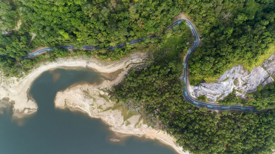 Nature Aerial View Plant Water Tree No People Land Scenics - Nature Day High Angle View Environment Road Beauty In Nature Curve Outdoors Transportation Tranquility Forest Non-urban Scene Flowing