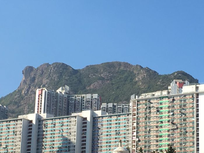 Lion Rock Lion Rock Mountain Lion Rock In Hong Kong Lion Rock Mountain Sky Blue Clear Sky
