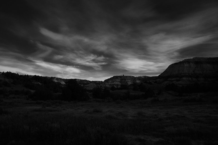 Theodore Roosevelt National Park, Sunrise Landscape. Nikon D7200. Adventure Ansel Adams Inspired Background Beauty In Nature Campingadventures Cloud Cloud - Sky Day Inspiration Inspirational Landscape Mountain Nature No People Outdoors Scenics Sky Sunset Tranquil Scene Tranquility Travel Travel Destinations Tree Walking Around Wallpaper