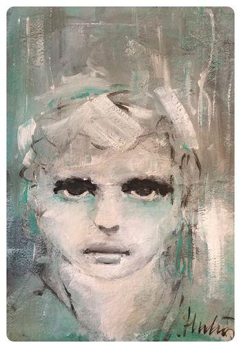 Shadows...J27/2016 Kunst Portait Artist Caroline Hulin Atelier Bouterin& Co Art Acrylique Sur Toile 30/40