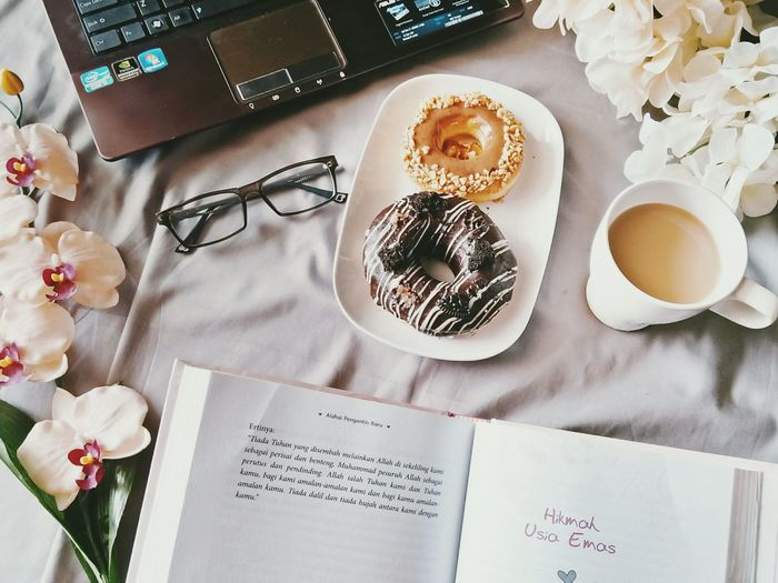 Me Time With Donuts and Coffee Flatlayphotography Leisure Activity Me Time ❤☕ Coffee And Donut Reading & Relaxing Paper Table High Angle View Studio Shot Directly Above Plate Still Life Close-up