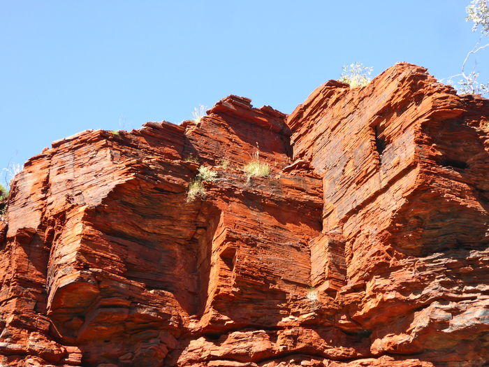 Ancient Rocks Blue Canyon Clff Face Climbing Climbing Sport Geology Geology Rocks Geometric Shapes Geometric Shapes In Nature Gondwanaland Landscape Nature No People Outdoors Red Rocks  Rock - Object Rock Formation Rock Layers Sandstone Sky Travel Destinations