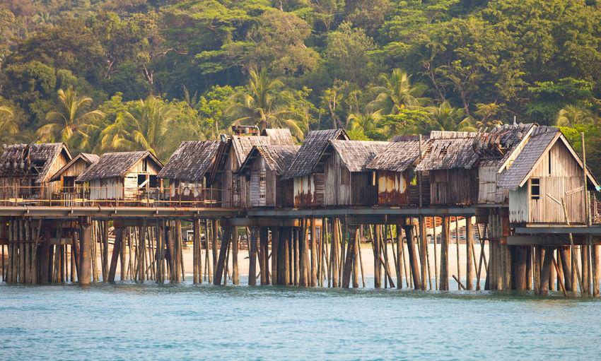 Stilt Houses And River Against Trees