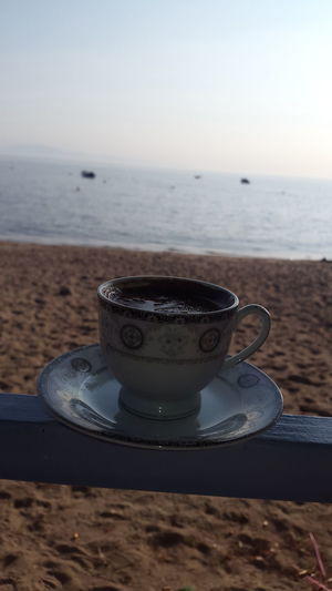 Coffee - Drink Drink Sea Beach Coffee Cup Food And Drink No People Horizon Over Water Heat - Temperature Water Close-up Day Outdoors Mocha Freshness Skylove Türkkahvesi EyeEm Gallery Eye4photography  EyeEm