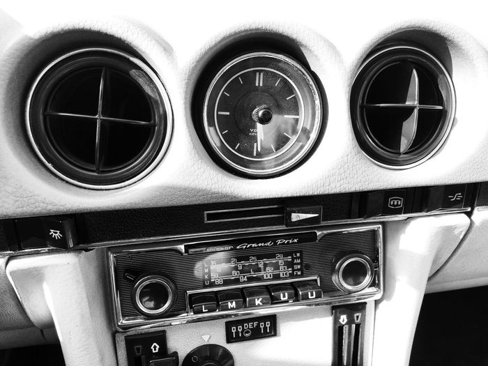 Mercedes W107 Black And White Blackandwhite Automobile Auto Historic Old Car W107 Mercedes-Benz Mercedes Control Indoors  Close-up Technology No People Control Panel Music Retro Styled Vehicle Interior Equipment Number Dashboard Mode Of Transportation Antique Transportation Arts Culture And Entertainment Audio Equipment Musical Equipment Musical Instrument