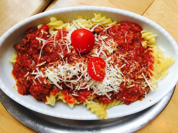 Close-up of spaghetti bolognese