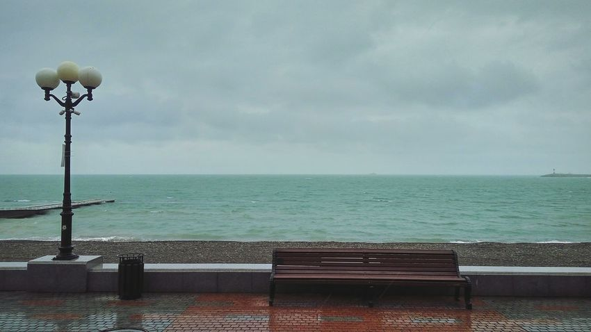 Дождь Rain Rainy Sea Bench Clouds Clouds And Sky Outdoors No People Water Horizon Over Water Beach Day Travel Destinations Nature Sky Сочи Адлер Black Sea Дождьнаулице дождик Море
