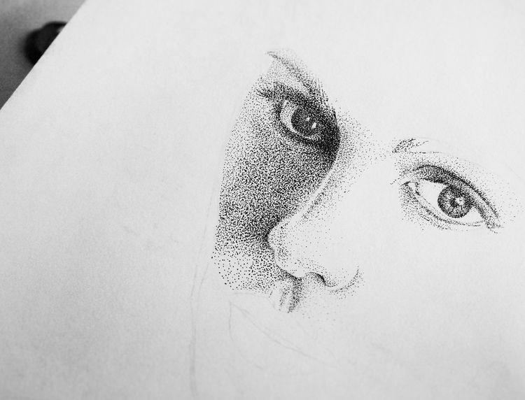 Portrait Stippling ArtWork Ink Drawing Micronpen