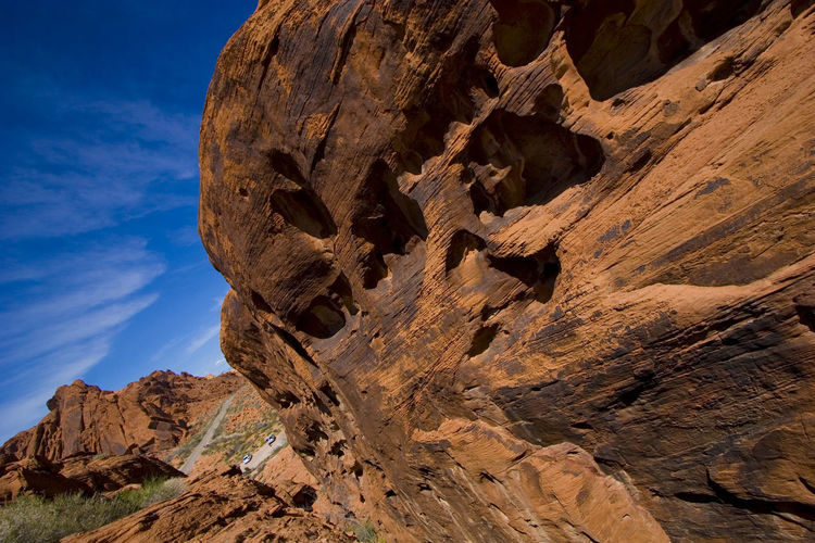 Low angle view of rock formations in nevada desert