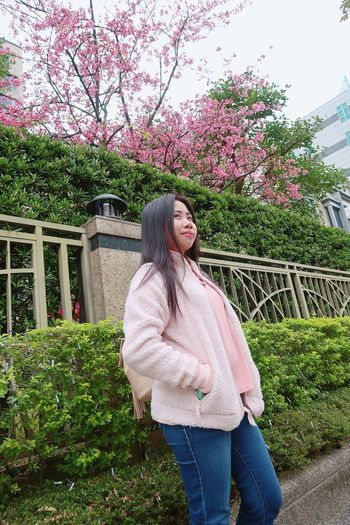 Cherry blossom ❤️ Smiling One Person Long Hair Happiness Flower Young Adult Only Women Casual Clothing Young Women Beautiful Woman Cheerful Outdoors Standing Lifestyles Real People Leisure Activity Portrait Full Length Day