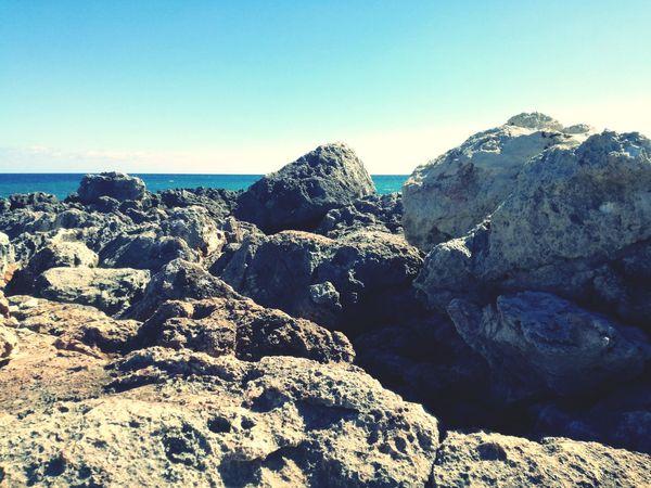 Beach Photography Rocky Beach Rocky Shore Idyllic Scenery Seascape Mediterranean Island Mediterranean Coast Mallorca (Spain) Clear Sky Mountain Water Blue Rock - Object Sky Landscape Rock Formation Cliff Rocky Coastline Coast Rock Horizon Over Water Shore Eroded Physical Geography