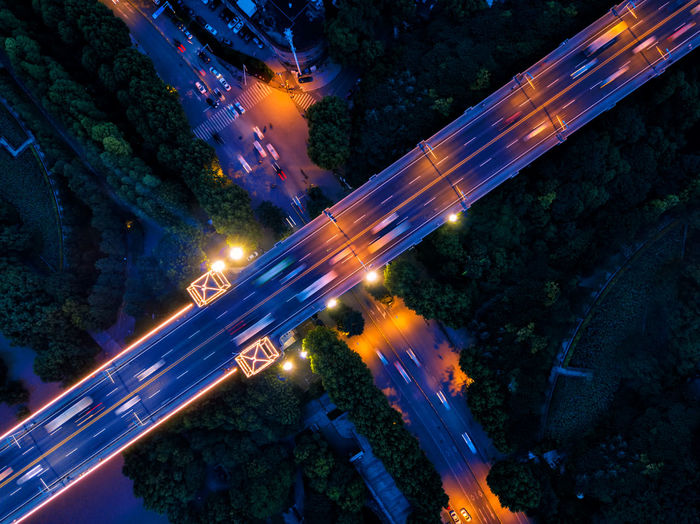 Architecture Blurred Motion Bridge - Man Made Structure Built Structure City City Life Cityscape Futuristic High Angle View Illuminated Light Trail Long Exposure Motion Nature Night No People Outdoors Road Sky Speed Street Light Traffic Transportation Tree