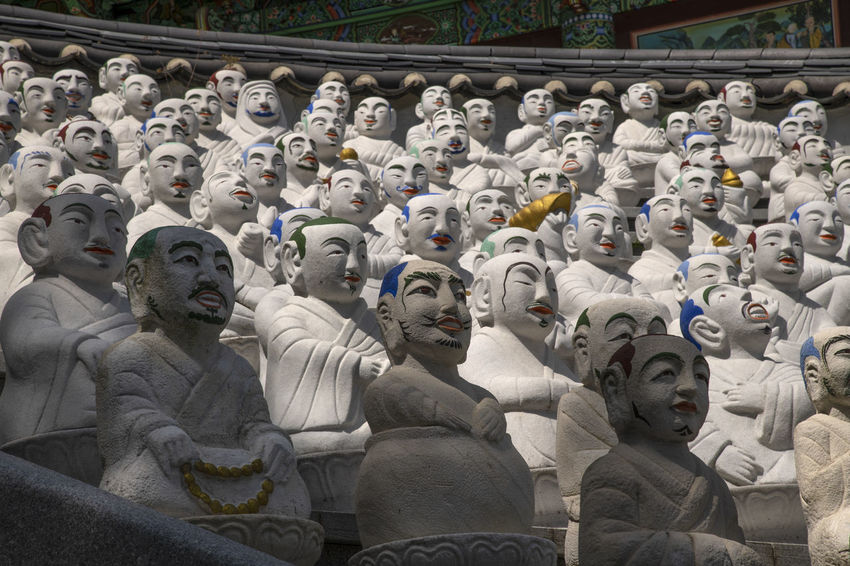 View of Bomunsa, a famous Buddhism temple at Seokmodo in Ganghwado, Kimpo, Gyeonggido, South Korea Bomunsa Buddhism Temple Seokmodo South Korea Architecture Art And Craft Belief Buddhism Building Built Structure Craft Creativity Day Female Likeness Ganghwado History Human Representation Idol In A Row Male Likeness No People Religion Representation Sculpture Spirituality Statue Temple
