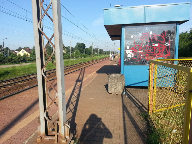 Old train station somewhere in the village Blue Clear Sky Day Diminishing Perspective Footpath Long No People Outdoors Rail Transportation Railroad Station Platform Railroad Track Shadow Sky The Way Forward Train Tranquil Scene Tranquility Transportation