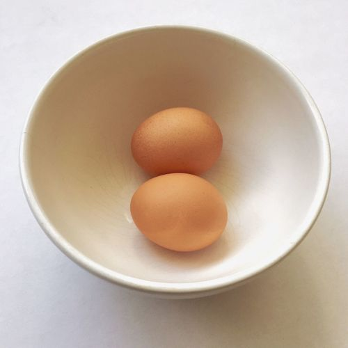 Two chicken eggs in a bowl. Animal Egg Egg Chicken Egg Freshness Food Raw Fragility Bowl Breakfast Protein Dairy Product Overhead View Organic Selective Focus Indulgence Elevated View Studio Shot Brown Two Healthy Eating No People
