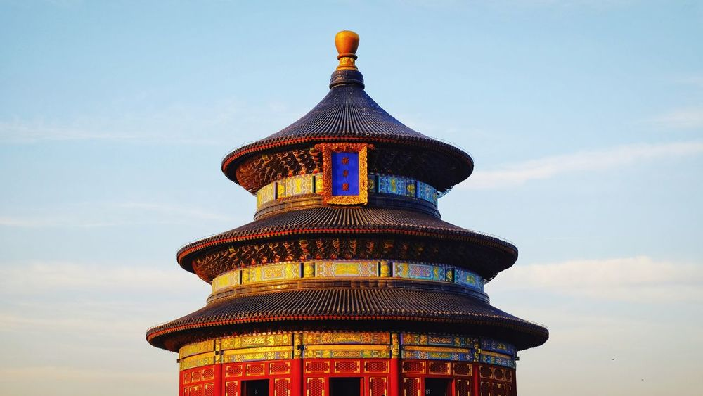Architecture Travel Destinations History City Sky Arts Culture And Entertainment Travel Cloud - Sky Ancient No People Built Structure Blue Cityscape Red Roof Statue Building Exterior Skyscraper Altar Temple Of Heaven Park Beijing, China FUJIFILM X-T10 Palace Old Building  Royalty