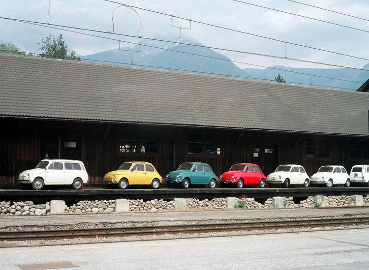 120 120 Film 120mm 645 645pro Analog Analogue Photography Building Exterior Car Fiat Fiat 500 Fiat Lux Fiat500 In A Row Italia Italy Land Vehicle Mamiya Mamiya 645 Merano Mode Of Transport Road Sky Stationary Transportation