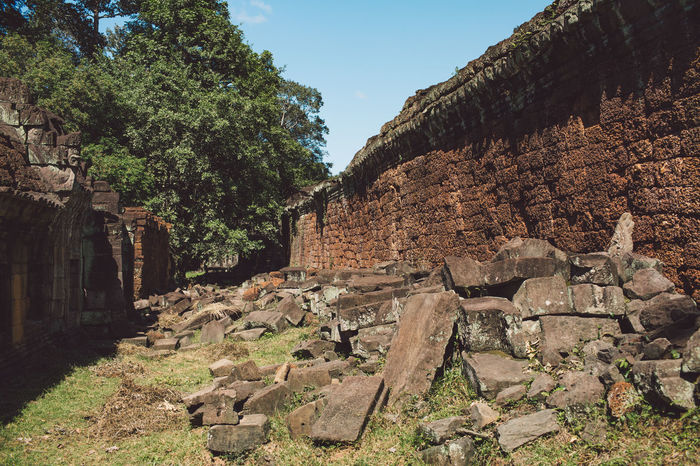 Siem Reap Cambodia Angkor The Past Architecture History Old Ruin Built Structure Nature Sky Tree Ancient Old Damaged Ancient Civilization Plant Day No People Run-down Bad Condition Abandoned Ruined Travel Destinations Archaeology Deterioration Outdoors Stone Wall