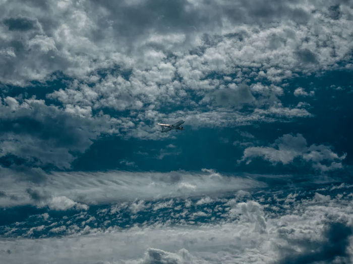 Low angle view of airplane flying amidst clouds
