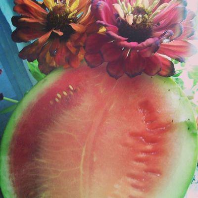 Вкусный первый арбуз который сорвала со своего огорода лето Арбуз Summer Watermelon огород дом Garden Home🍉☀⛅🍉🏡🍀🍏