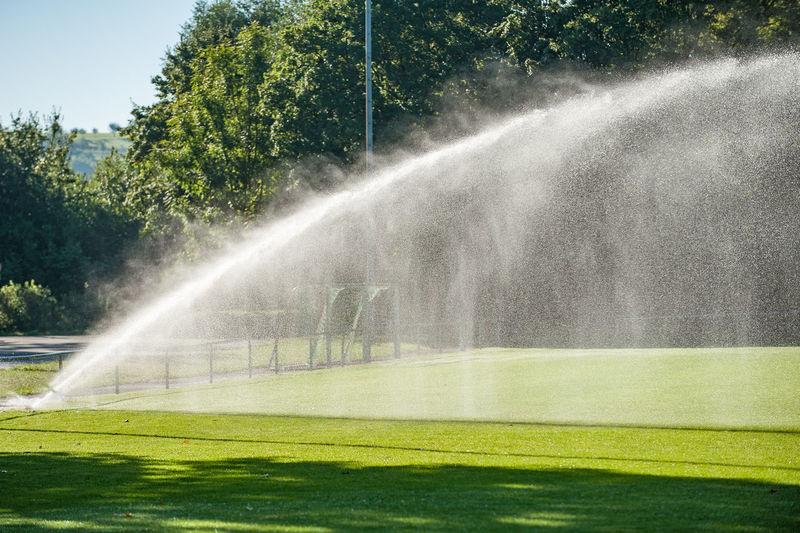 Sprinklers In Park