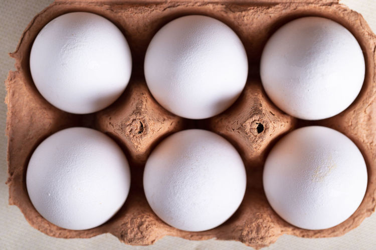 Directly above shot of eggs in container