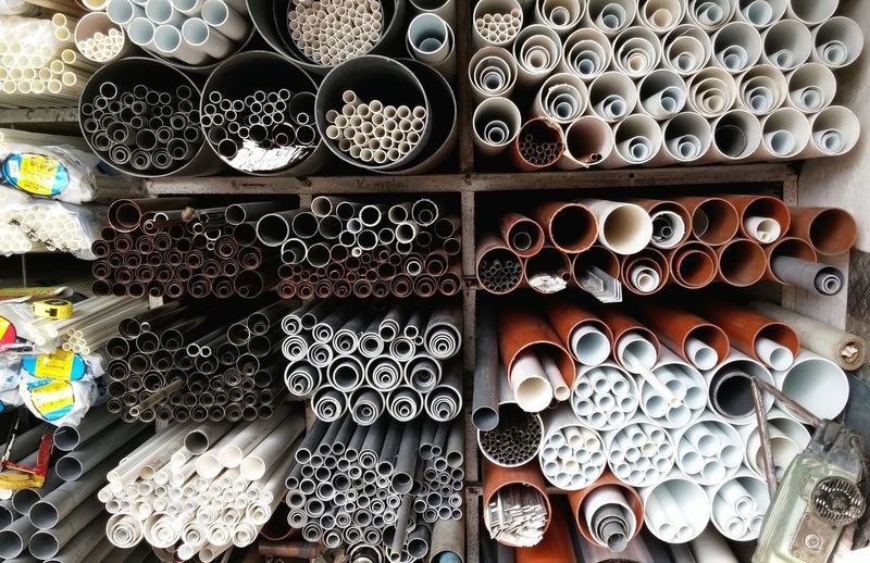 Various pipes in warehouse