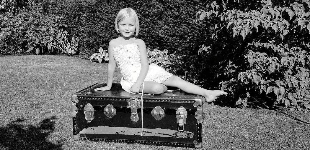 Blackandwhite Portrait Outdoors LittleMiss Trunk Suitcase Garden Childhood Full Length Child Happiness Human Representation Sky
