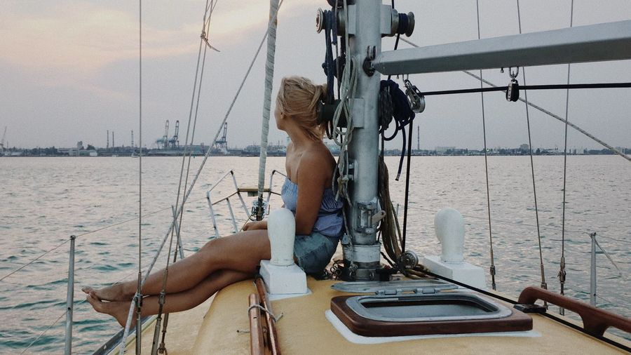 Woman On Sailing Boat
