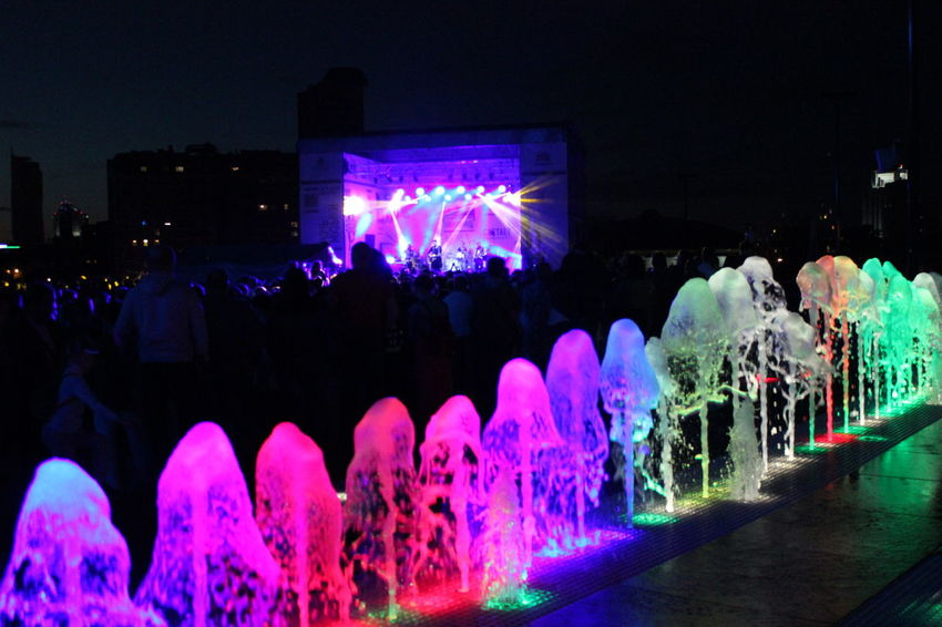 Illuminated Night Celebration Lighting Equipment Pink Color Dark Decoration Fountain Large Group Of Objects Electric Light Celebration Event Outdoors Arrangement Multi Colored Party Watercolor Water