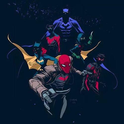 The whole families together Batman Nightwing Batgirl Redhood redrobin robin
