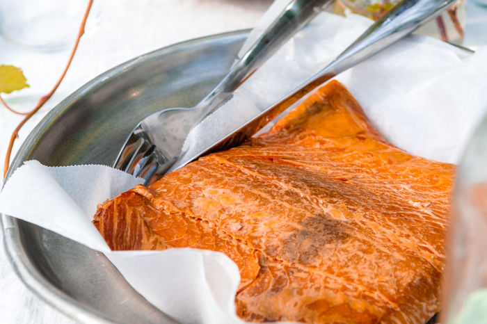 Swedish heritage food Varmrökt Lax ( Hot smoked salmon ) Cuisine Heritage Food Swedish Baked Close-up Eating Utensil Food Food And Drink Fork Freshness High Angle View Hot Smoked Hot Smoked Salmon Household Equipment Indoors  Kitchen Utensil Meal Metal No People Orange Color Paper Ready-to-eat Salmon Selective Focus Silver Colored Still Life Table Knife Vertebrate