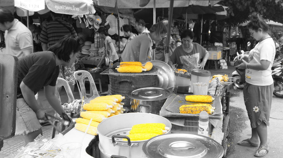 Adult Corn Day Food Market Men One Person Outdoors People Real People Stall Stalls At Sunday Market Women Yellow Paint The Town Yellow