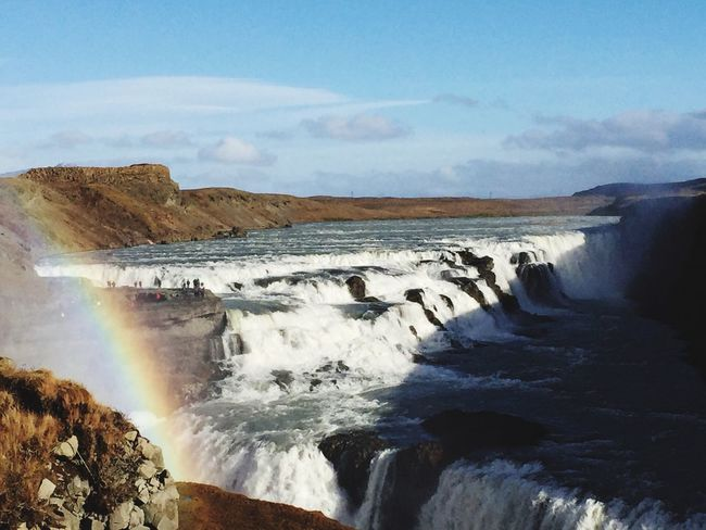 I 💛 Iceland Beauty In Nature Rainbow Iceland Goldencircle Gullfoss Amazing View Waterfall Iceland Trip Honeymoon IPhoneography Iphone6