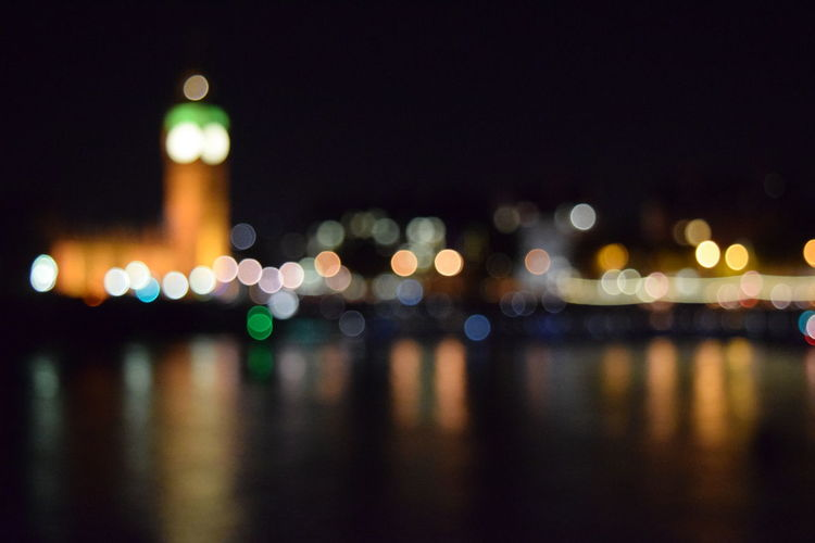 Architecture Big Ben City City Cityscape Defocused Illuminated Lights London London At Night  LONDON❤ Night Night Lights Night Reflections Night Skyline No People Out Of Focus Outdoors Reflection Sky Water Water Reflections