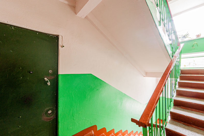 Low angle view of staircase by building