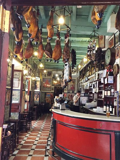 Taberna in Sevilla Spain, Andalucia Spanish Spanish Food Bistrot Indoors  Traditional Culture Tradition Red Jamon Restaurant