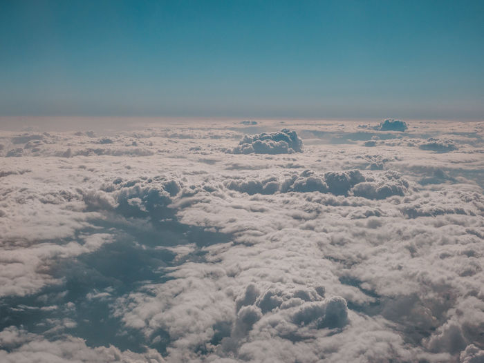 Above Aerial View Beauty In Nature Blue Cloud - Sky Cloudscape Copy Space Day Environment Fluffy Idyllic Landscape Majestic Meteorology Nature No People Non-urban Scene Outdoors Scenics - Nature Sky Softness Tranquil Scene Tranquility