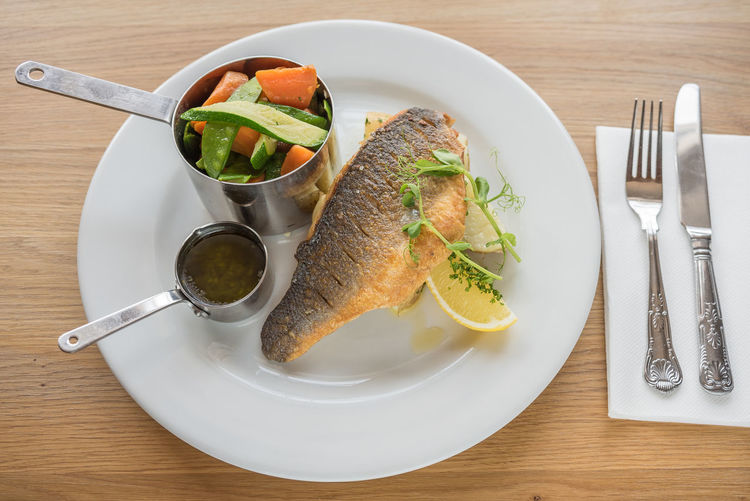 Meal Eating Utensil Fish Food Food And Drink Foodphotography Freshness Garnish Gourmet Healthy Eating High Angle View Indoors  No People Organic Plate Ready-to-eat Roast Serving Size Still Life Table Tabletop Trout Vegetable Wellbeing Yummy
