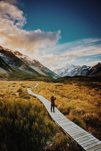 Oh my Mount Cook Hookervalley New Zealand Scenery EyeEm Selects EyeEm Landscape Sky Mountain Cloud - Sky Beauty In Nature Scenics - Nature Real People Landscape Nature Tranquil Scene Mountain Range Environment Non-urban Scene Tranquility Day Leisure Activity Outdoors Lifestyles