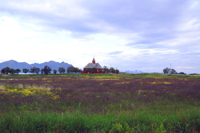 Architecture Beauty In Nature Built Structure Church Cloud Cloud - Sky Cloudy Day Field Grass Green Color Growth Landscape Lighthouse Mountain Nature Norway Open Landscape Plant Rare Rural Scene Scenics Sky Tranquil Scene Tranquility