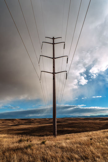 Electricity pylon on land against sky