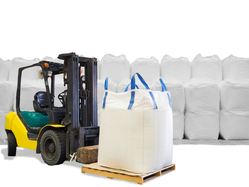 Forklift handling the sugar in jumbo bags on pallet from stacking in warehouse, isolated on white background BIG Forklift Isolated Rice Stack Sugar Bag Bulk Day Equipment Export Factory Freight Transportation Import Indoors  Jumbo Bag No People Pallet Shipping  Starch Studio Shot Stuffing Tapioca Warehouse White Background