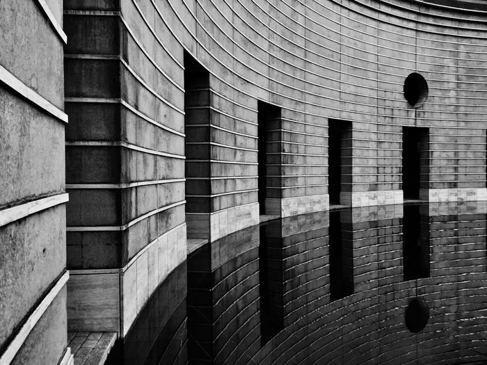 Building reflecting on water