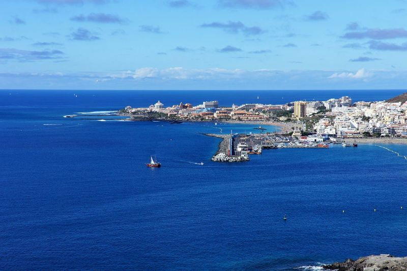Sea Blue Sky Aerial View Cityscape Water Day Nautical Vessel City Harbor Outdoors No People Los Cristianos, Canarias View From Above
