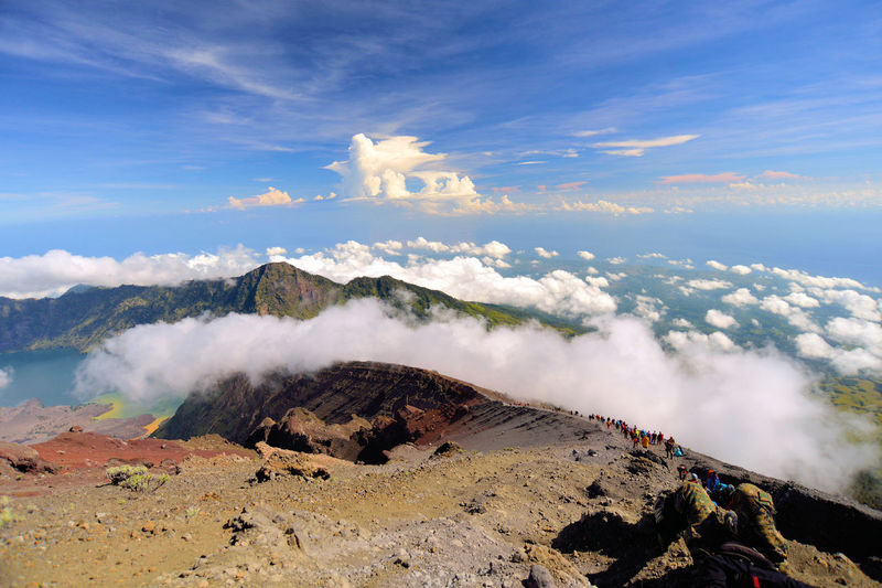 Rinjani mount Indonesia Hot Spring Water Power In Nature Steam Volcanic Landscape Smoke - Physical Structure Heat - Temperature Erupting Sky Landscape